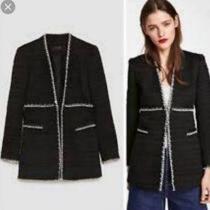 NWT Zara Basic black/white textured Blazer, XS